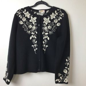 Talbots Embroidered Wool Cardigan